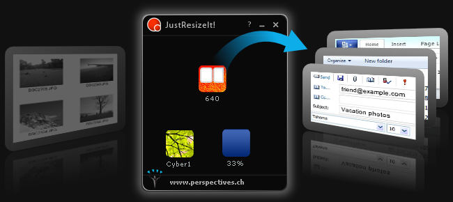 Dragging resized images from JustResizeIt! onto folders, documents and emails