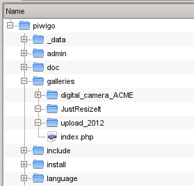 Folder JustResizeIt in Piwigo structure