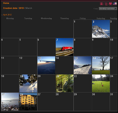 Example of calendar view in a photo gallery