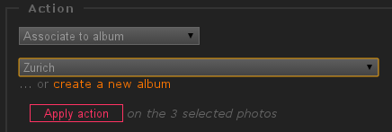 Screenshot, associate fresh photos to Piwigo albums